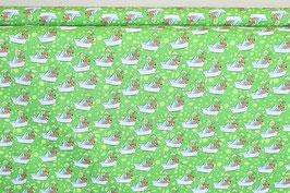 Steinbeck, lustige Tierchen im Papierboot, grün
