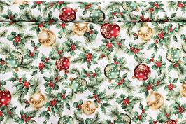 Weihnachtsbaumkugeln, Tannengrün, weißgrundig, mit Goldbeschichtung, by Hoffmann, PW