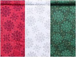 Schneeflocken/Mandalas in drei verschiedenen Farben, PW
