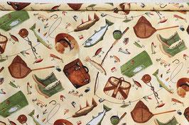 Anglerzubehör und Fische, beige/grün, Timeless Treasures, PW