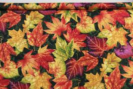 Herbstblätter, bunt/dunkelgrün, Henry Glass, PW
