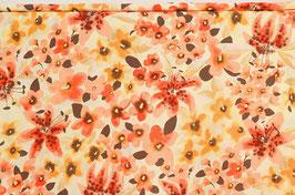 Kleiderviskose Blumen, gelb/orange