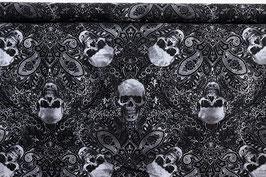 Totenköpfe und Muster, schwarz/weiß, Timeless Treasures, PW