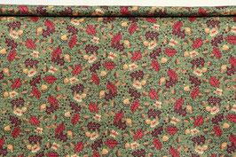 Eichenblätter und Eicheln, salbeigrün/rot/beige, PW
