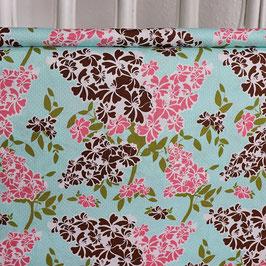 Blumen Retrolook, braun/weiß/rosa/grün