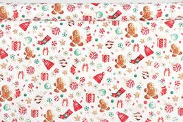 Weihnachtssymbole/Süßigkeiten, naturweißgrundig, bunt/gold beschichtet, Timeless Treasures, PW
