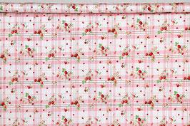 Erdbeeren und Blüten, kariert, rosa/weiß, PW