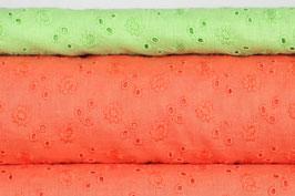 Baumwollbatist, Stickerei, orange und hellgrün
