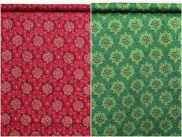 Ornamente/ Muster, grün/bordeaux/gold, Quilting Treasures, PW