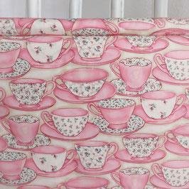 Tea time, Tassenstoff, rosa, Rosenmuster