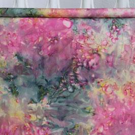 Echter Batik, dunkelgrün/pink/gelb