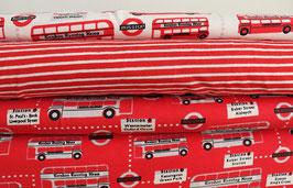Doppeldeckerbusse aus London, rot/weiß