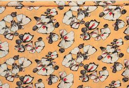 Kleiderviskose apricoat, s/w Blumen