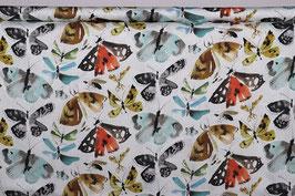 Falter/Schmetterlinge, Viskosesatin, weiß