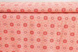Blumen retro grafisch, apricoat/rosa/rot