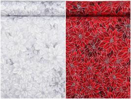 Adventsstern/Weihnachtsstern Blume in rot & weiß, Silberbeschichtung, Timeless Treasures, PW