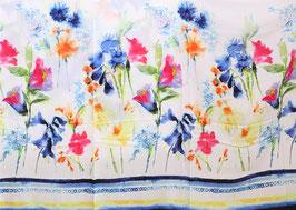 Bordüre Blumen Aquarell blau/weiß