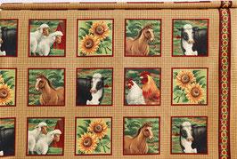 Bauernhoftiere, Sonnenblumen und Karos, Reihe 11,5cm breit, PW