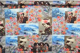 Geishas auf historischen Fotos, Blumen