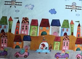 Bunte Bordüre mit Stadt, Himmel, Autos und Flugzeugen