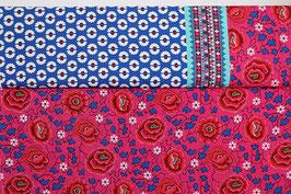 Bordüre Grafik Rosen, pink/rot/blau