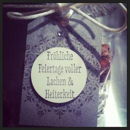 """Etikette """"Fröhliche Feiertage voller Lachen & Heiterkeit"""""""