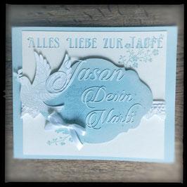 """Karte """"Alles Liebe zur Taufe""""Blau"""