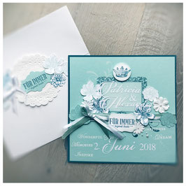 """Karte """"Wedding"""" No. 3 Petrol"""