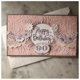 """Karte """"Happy Birthday """" Blumenranke"""