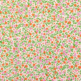 Coton enduit Petit Pan Flower power rose
