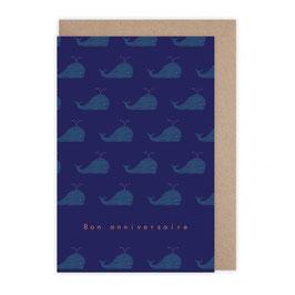 Monsieur Papier - Carte anniversaire baleines