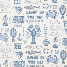 Coton enduit Seafood blue