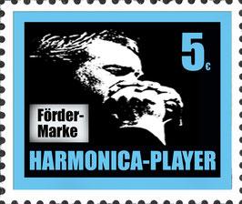 HARMONICA-PLAYER Fördermarke blau 5 €