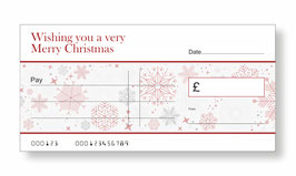 Jumbo Christmas Gift Cheque - Snow Flakes Red