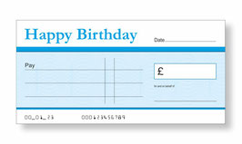 Birthday Jumbo Cheque - Blue