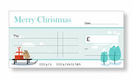 Jumbo Christmas Gift Cheque - Sleigh & Christmas Trees