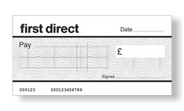 First Direct Jumbo Cheque