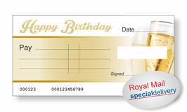 Jumbo Cheque (Happy Birthday Champagne) - NEXT DAY