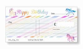 Birthday Jumbo Cheque - Unicorn