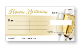 Birthday Jumbo Cheque - Champagne