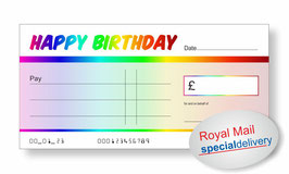 Jumbo Cheque (Happy Birthday Rainbow) - NEXT DAY