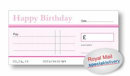 Jumbo Cheque (Happy Birthday Pink) - NEXT DAY