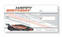 Birthday Jumbo Cheque - Fast Car Orange