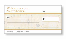 Jumbo Christmas Gift Cheque - Snow Flakes Gold
