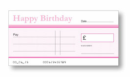 Birthday Jumbo Cheque - Pink