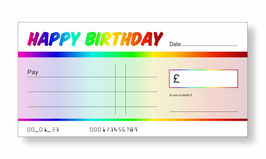 Birthday Jumbo Cheque - Rainbow