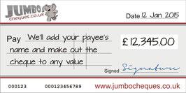 Custom Design Jumbo Cheque