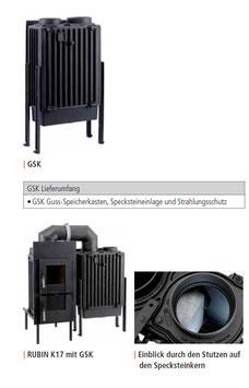 LEDA Guss-Heizkasten GSK mit Specksteineinlage, Füßen, Strahlungsschutz und Anschlußstutzen