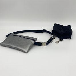 KOMPLETT SET silberne Verschlüsse -Gassigürtel schwarz + Gassitasche Altsilber + Leckerliebeutel schwarz