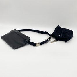 KOMPLETT SET silberne Verschlüsse - Gassigürtel schwarz + Gassitasche schwarz + Leckerliebeutel schwarz